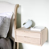Oak double drawer floating bedside side view