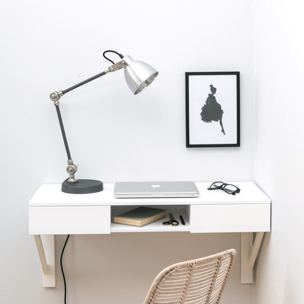 white floating beech desk