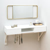 floating dressing table with gold mirror