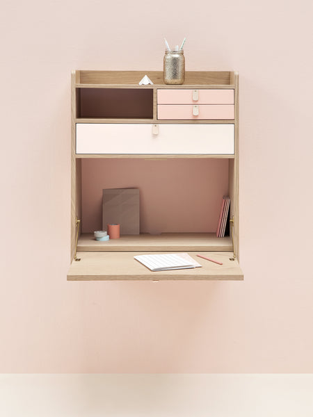 wall desk in pink and oak