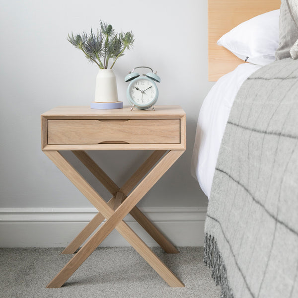 Oak Bedside With Crossover Leg
