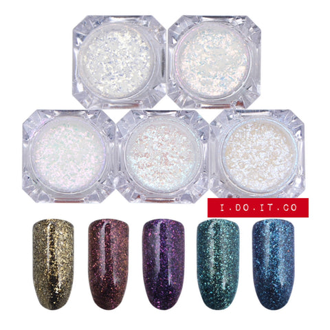 BORN PRETTY NAIL PIGMENT MERMAID FLAKES - 5 SET
