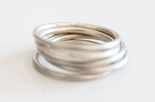 Set of 5 silver minimal unisex ring