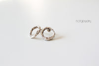 Modern Contemporary White Silver Earrings