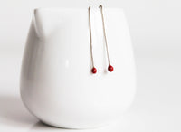 Sweet Small Red Silver Everyday earrings