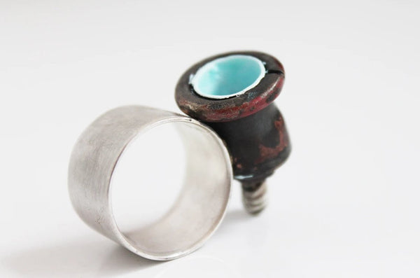 Bold Sculptural Unique Copper Silver Statement Ring
