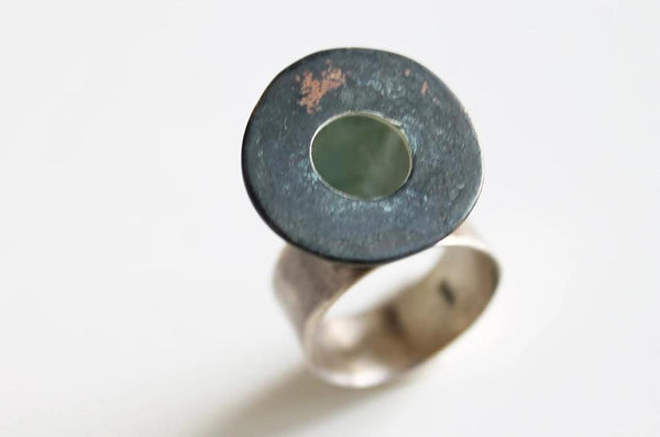 Bold Statement Contemporary Green Copper ring