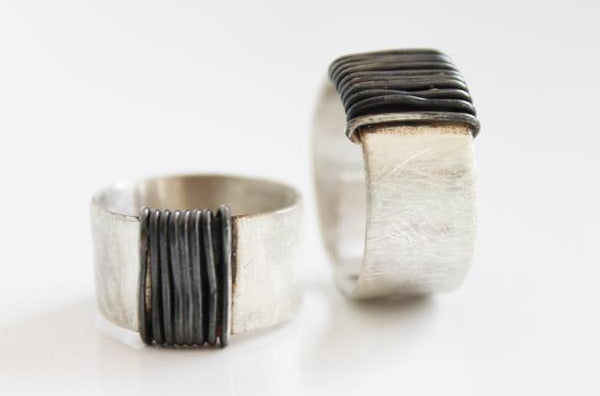 Bold Silver Unisex Silver Wrapped Ring