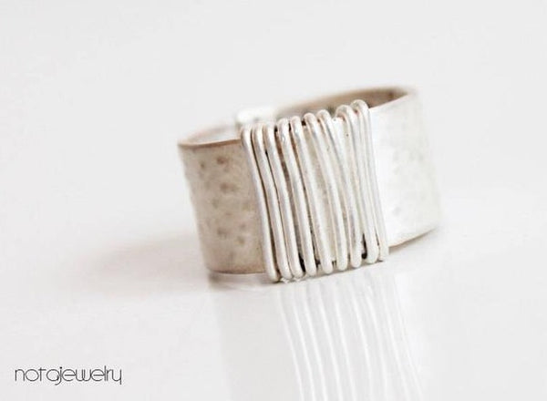 White silver modern ring for Women