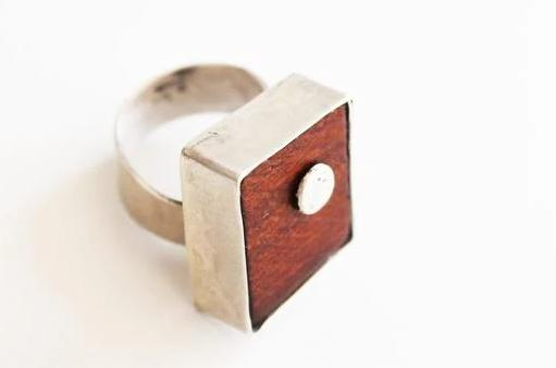 Adjustable Unique Wood Silver Statement Ring