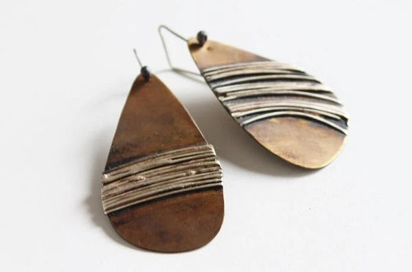 Unique Bold Brass Silver Leaf Earrings