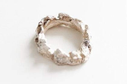 Unique Textured Raw White Silver Ring