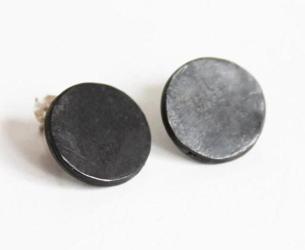 Bold Black Silver Statement Studs