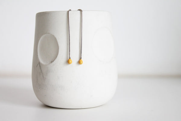 Little silver minimal yellow earrings