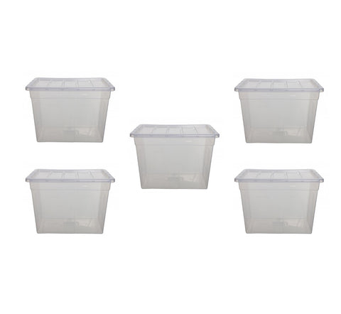 5 x Strong Clear Plastic Storage Boxes