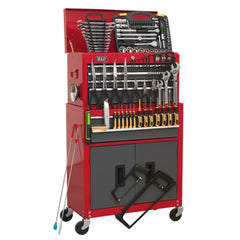 Topchest & Rollcab Combination 6 Drawer with Ball Bearing Slides - Red/Grey & 128pc Tool Kit