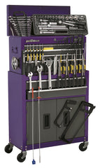 Topchest & Rollcab Combination 6 Drawer with Ball Bearing Slides - Purple/Grey & 128pc Tool Kit