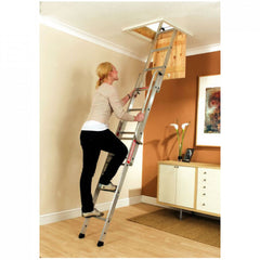 Easiway EN14975 Sliding Loft Access Ladder 3 Section Aluminium 3m & Handrail 150kg