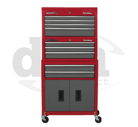 AP2200BB + AP22309BB Red 9 Drawer Top Tool Chest & Roller Cabinet Tool Box