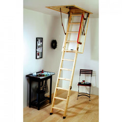 Youngman 2.8m Deluxe Timber Eco Folding Wooden Loft Attic Ladder Frame 1150x570