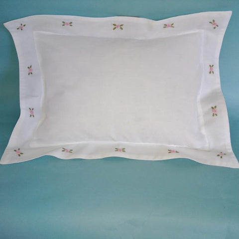 Pink Rosebud Baby Pillow Case ( without the Inner )