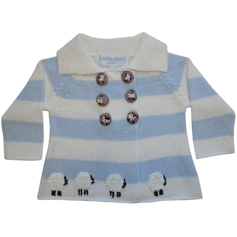 Blue and White Striped Sheep Cardigan / Pram Coat