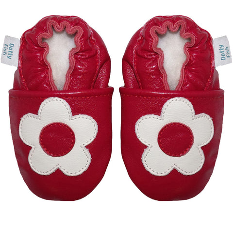 Red and White Daisy Baby shoes