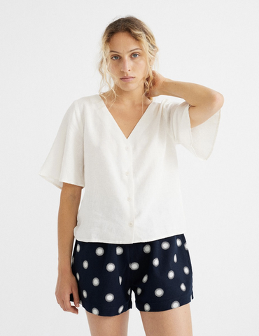 WHITE HEMP LIBELULA BLOUSE, Thinking Mu