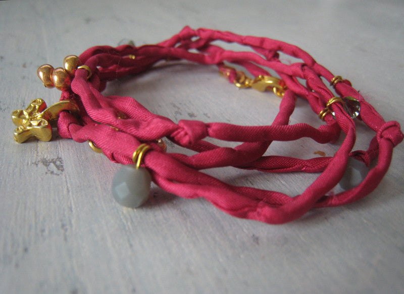 Wickelarmband, od. -Kette, cranberry/gold - CONCUELA - 1