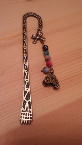 Four Colorful Beads Brass Bookmark