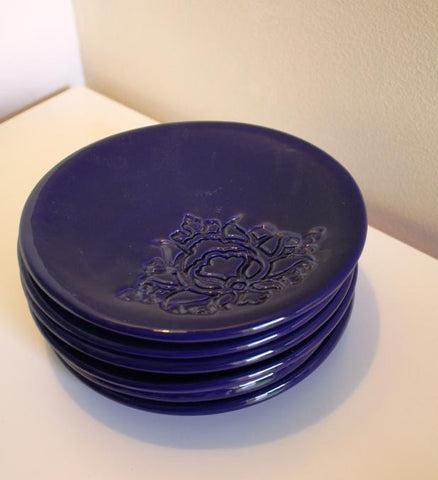 POTTERY PLATE NAVY BLUE (S)