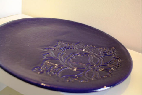 POTTERY PLATE NAVY BLUE (L)