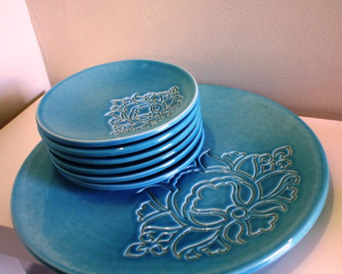 POTTERY PLATE TURQUOISE (L)