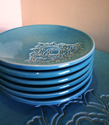 POTTERY PLATE TURQUOISE (S)