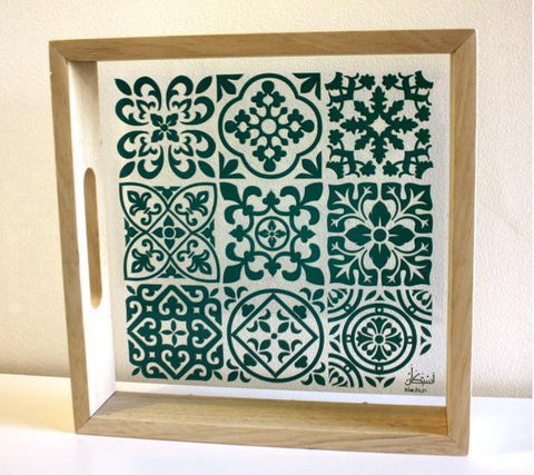 MOROCCAN TEAL TILE TRAY (L)
