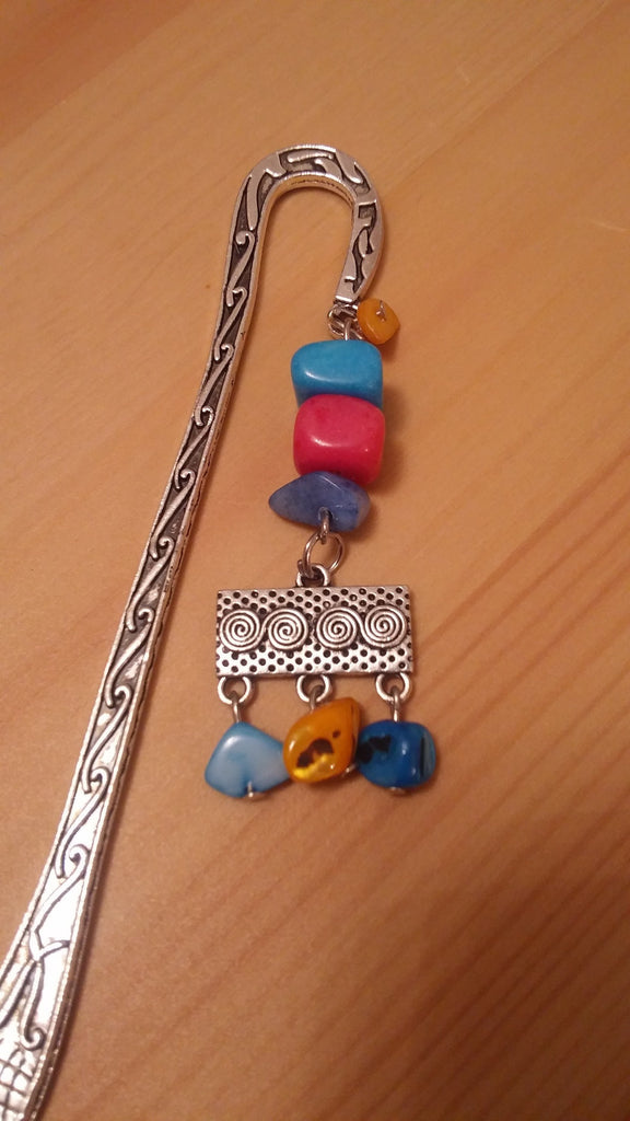 Solid Colored Stones Chrome Bookmark