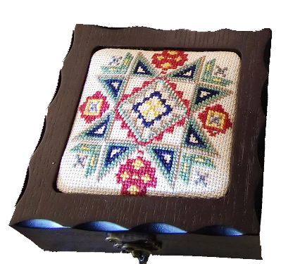 Square Embroidered Wooden Box