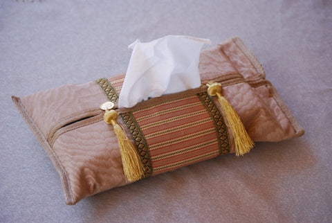 ORIENTAL TISSUE BOX COVER - BEIGE