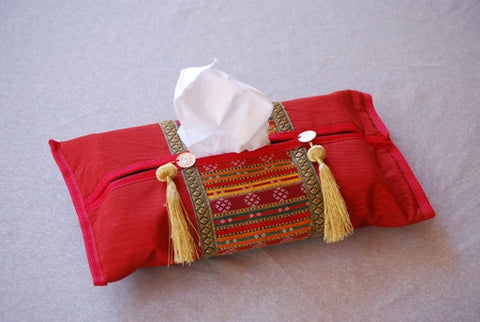 ORIENTAL TISSUE BOX COVER - RED