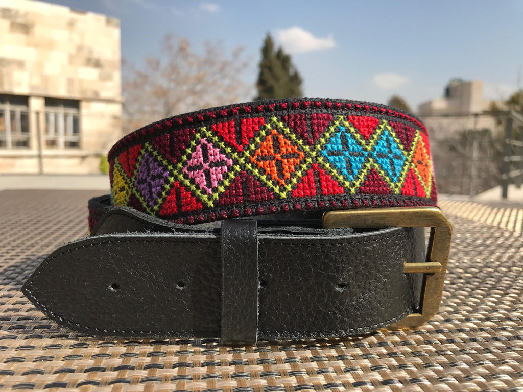 Unisex Embroidered Leather Belt