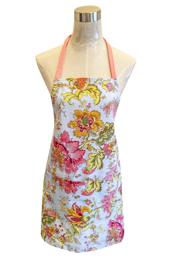 FLORAL WITH PINK STRAP - APRON