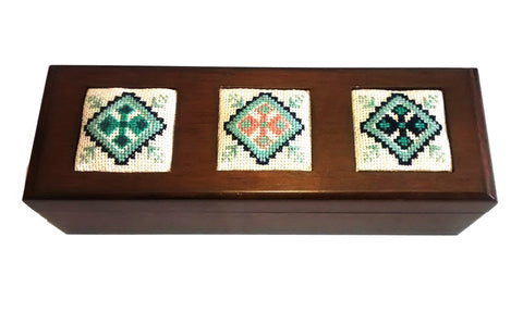 Rectangular Embroidered Wooden Box