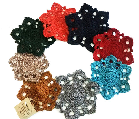 Hand Crocheted Coasters - Set of 6 Assorted Colors