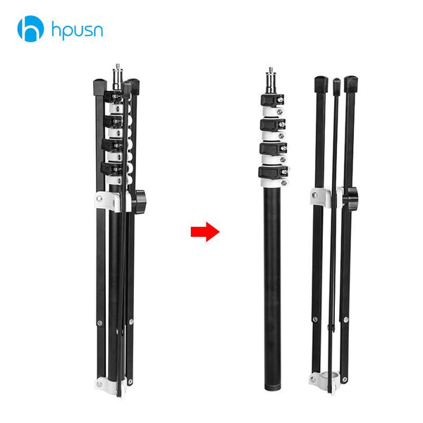 HPUSN B5 Collapsible 210cm Light Stand 6.9ft Metal portable foldable tripod for studio Flash lighting Kits support 5 section -  - PANEZA - PANEZA