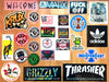 Stickers back in from Thrasher, Welcome, Matix, Independent, Creature, Vans, Thunder, Creature