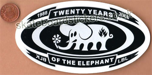 Black Label - 20 Years Of The Elephant 1988-2008 Skateboard Sticker