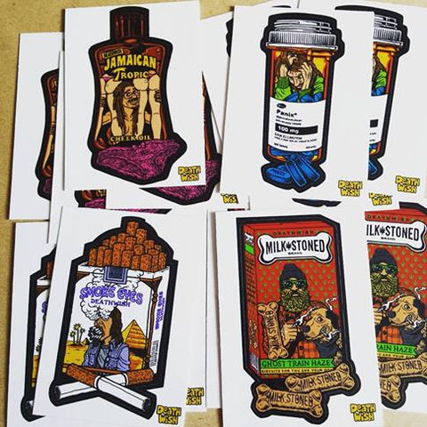 Deathwish Crazy Consumers and Death Toons Skate Stickers added today!