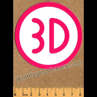 3D Skateboard Sticker - Pink - SkateboardStickers.com