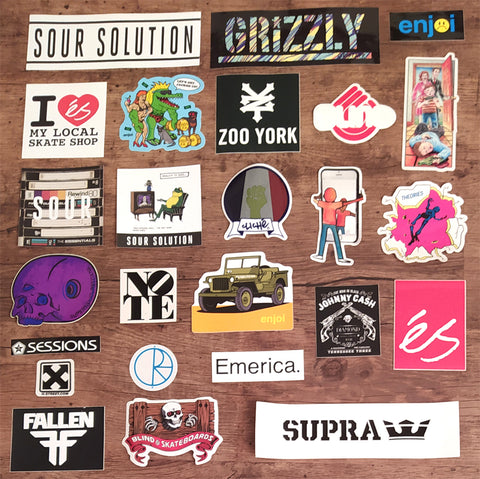 25 Skateboard Sticker Pack - Mix of Perfect / Slight Creasing / Minor Defects