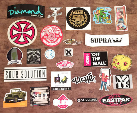 26 Skateboard Sticker Pack - Mix of Perfect / Slight Creasing / Minor Defects